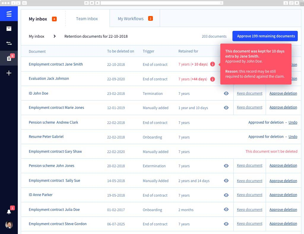 Automate document retention periods to satisfy complex local, government, and the company's privacy procedures, and eliminate the risk of early or late termination of files.